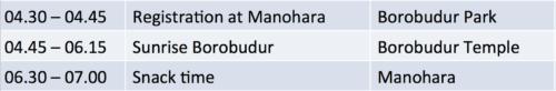 borobodur schedule
